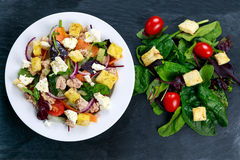 Tuna salad with mixed vegetables and white cheese Stock Photos