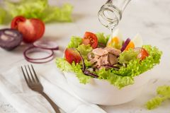Tuna salad. Nicoise - fresh salad with canned fish and vegetable Royalty Free Stock Images