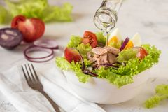 Tuna salad. Nicoise - fresh salad with canned fish and vegetable Stock Images