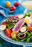 Tuna salad with tomatoes, boiled eggs, onion, anchovy and lettuc. Tuna salad  Nicoise with tomatoes, boiled eggs, onion, anchovy and lettuce Royalty Free Stock Photos