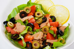 Tuna salad with olives and tomato Royalty Free Stock Photography