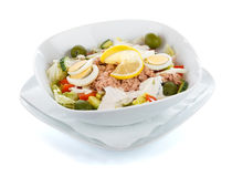 Tuna salad over white with selection mask Stock Photos