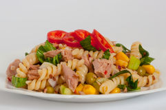 Tuna salad with pasta and vegetables. Stock Images