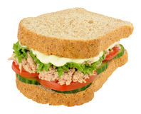 Tuna And Salad Sandwich On Brown Sliced Bread Stock Photos