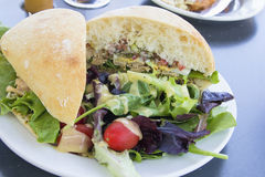Tuna Salad Sandwich with Ciabatta Bread and Salad Royalty Free Stock Images