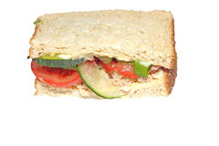 Tuna and salad sandwich half isolated. On white Royalty Free Stock Photo