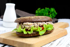 Tuna salad sandwich on rye bread Royalty Free Stock Photography