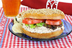 Tuna Salad sandwich on a sesame bagel. Royalty Free Stock Photo