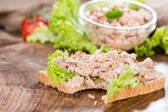 Tuna salad sandwich. With a small bowl in the background stock photo