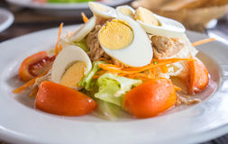 Tuna salad. Serve with boiled egg and vegetable Royalty Free Stock Photo