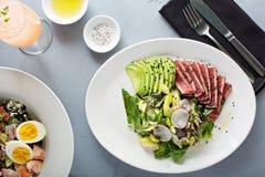 Tuna salad with sliced avocado Royalty Free Stock Photo