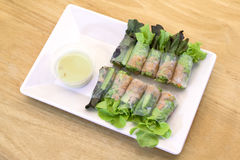 Tuna salad spring rolls. Portion of tuna salad spring rolls with Vasabi sauce, vegetables and in noodle tube on  ock wood background Royalty Free Stock Photography