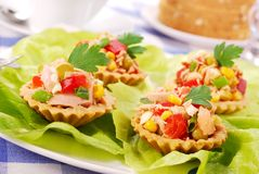 Tuna salad in tartlets Royalty Free Stock Photography