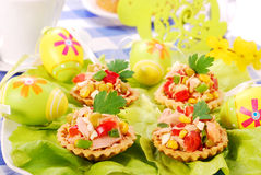 Tuna salad in tartlets for easter Stock Photography