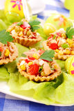 Tuna salad in tartlets for easter Stock Photo