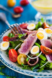 Tuna salad with tomatoes, boiled eggs, onion, anchovy and lettuc. Tuna salad & x28; Nicoise& x29; with tomatoes, boiled eggs, onion, anchovy and lettuce Royalty Free Stock Photo