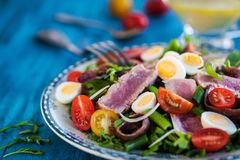 Tuna salad with tomatoes, boiled eggs, onion, anchovy and lettuc. Tuna salad & x28; Nicoise& x29; with tomatoes, boiled eggs, onion, anchovy and lettuce Royalty Free Stock Image