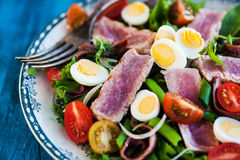 Tuna salad with tomatoes, boiled eggs, onion, anchovy and lettuc. Tuna salad & x28; Nicoise& x29; with tomatoes, boiled eggs, onion, anchovy and lettuce Stock Image
