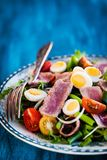 Tuna salad with tomatoes, boiled eggs, onion, anchovy and lettuc. Tuna salad  Nicoise with tomatoes, boiled eggs, onion, anchovy and lettuce Royalty Free Stock Image