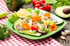 Tuna salad. Tuba salad with avocado and vegetables Royalty Free Stock Images
