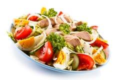 Tuna salad. Vegetable salad with tuna and boiled eggs stock image