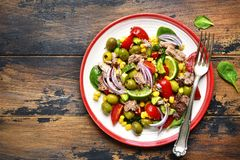 Tuna salad with vegetable and olive oil.Top view with copy space Royalty Free Stock Photography