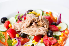 Tuna salad. With vegetables and olive oil Stock Photo