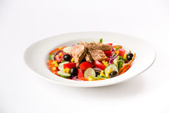 Tuna salad. With vegetables and olive oil Stock Photography