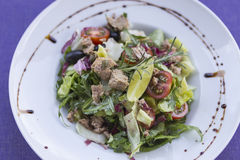 Tuna salad. With vegetables on the plate Stock Photo