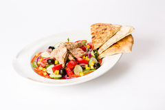 Tuna salad. With veggies and flat bread Royalty Free Stock Photos