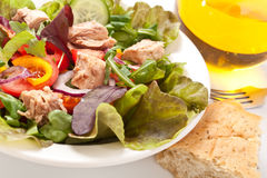 Tuna salad in a white bowl Stock Photo