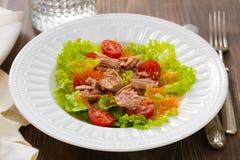 Tuna salad on white plate Royalty Free Stock Image