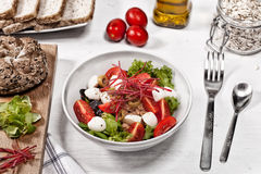 Tuna salad on a white table Royalty Free Stock Image