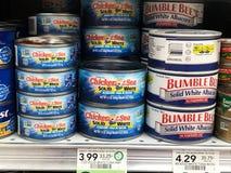 Tuna For Sale i en livsmedelsbutik royaltyfri bild
