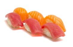 Tuna and salmon nigiri isolated Stock Photo