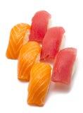 Tuna and salmon nigiri isolated Stock Image