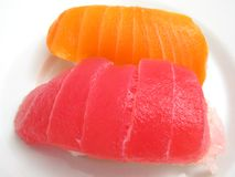 Tuna and Salmon Sushi Stock Photos