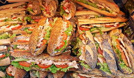 Tuna sandwich. On a market stand in Provence Stock Photo