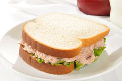 Tuna sandwich with an apple and milk Royalty Free Stock Photography