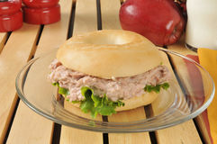 Tuna sandwich on a bagel Stock Images
