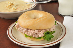 Tuna sandwich on a bagel with soup Royalty Free Stock Image
