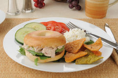 Tuna sandwich on a bagel with tortilla chips Royalty Free Stock Photo