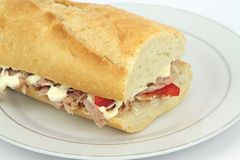 Tuna sandwich baguette with paprika and mayonnaise Royalty Free Stock Photo