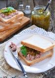 Tuna sandwich with cucumber Sweet Relish. Dinner Stock Photos
