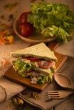 Tuna Sandwich fatta fresca sulla tavola di legno alla luce dorata prescelto immagine stock libera da diritti