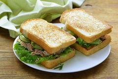 Tuna sandwich with fresh cucumber Stock Photo