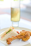 Tuna Sandwich and fried chicken Royalty Free Stock Photo