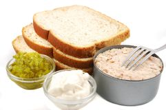 Tuna Sandwich Ingredients Royalty Free Stock Photo
