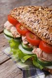 Tuna sandwich with lettuce, tomatoes, cucumbers and onions Stock Photography