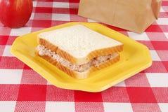 Tuna sandwich sack lunch. A bag lunch with a tuna sandwich and an apple Stock Photo